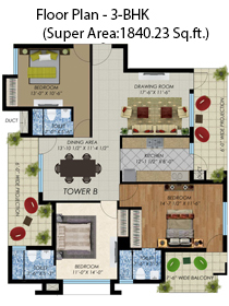 floor plan 3bhk(super area:1840.23sq. ft.)