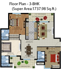 floor plan 3bhk(super area:1737.98sq. ft.)